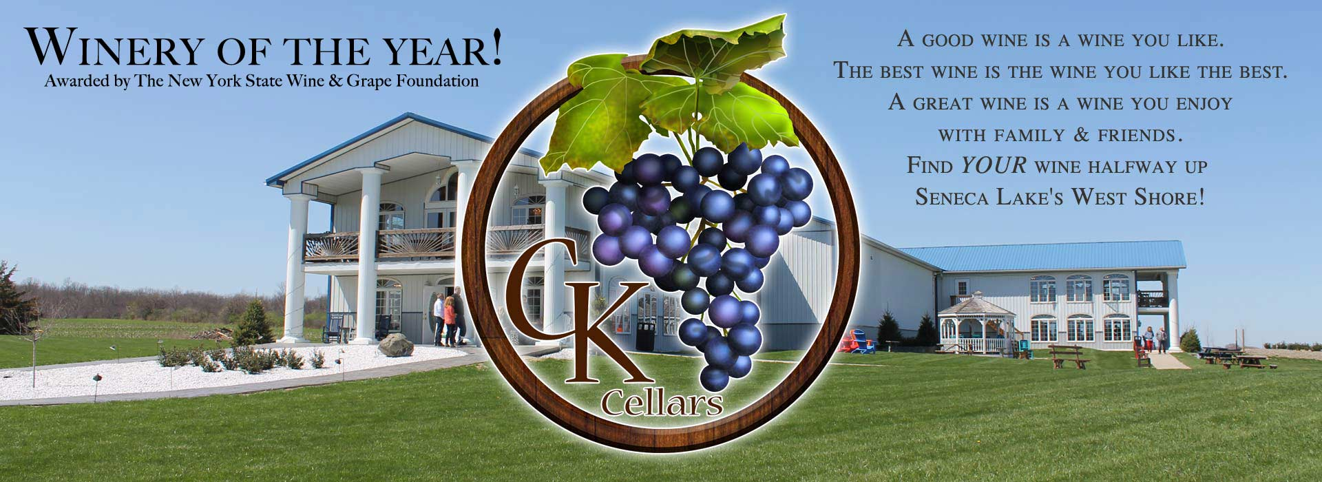 CK Cellars Winery Image with logo